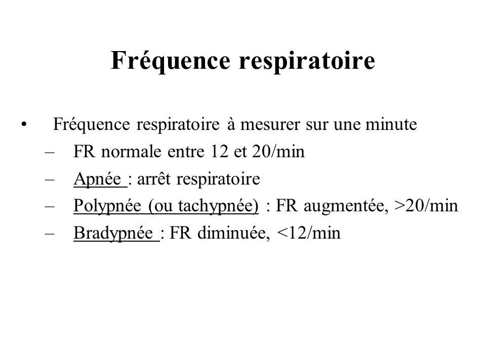 Fréquence respiratoire à mesurer sur une minute –FR normale entre 12 et 20/min –Apnée : arrêt respiratoire –Polypnée (ou tachypnée) : FR augmentée, >2
