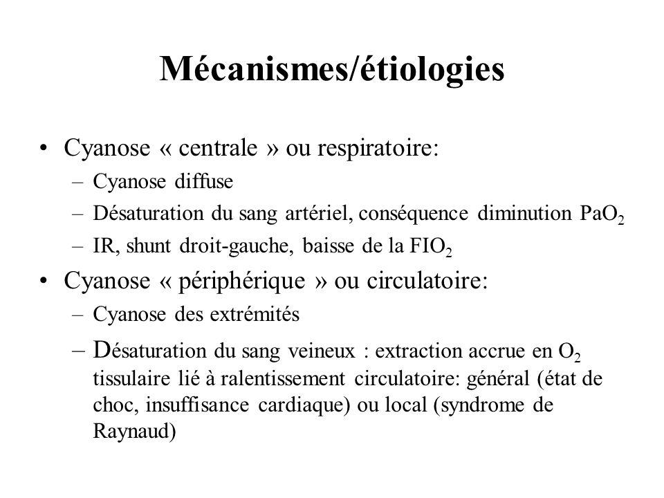 Mécanismes/étiologies Cyanose « centrale » ou respiratoire: –Cyanose diffuse –Désaturation du sang artériel, conséquence diminution PaO 2 –IR, shunt d