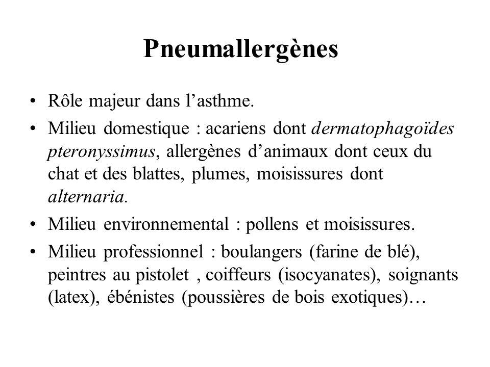 Pneumallergènes Rôle majeur dans lasthme. Milieu domestique : acariens dont dermatophagoïdes pteronyssimus, allergènes danimaux dont ceux du chat et d