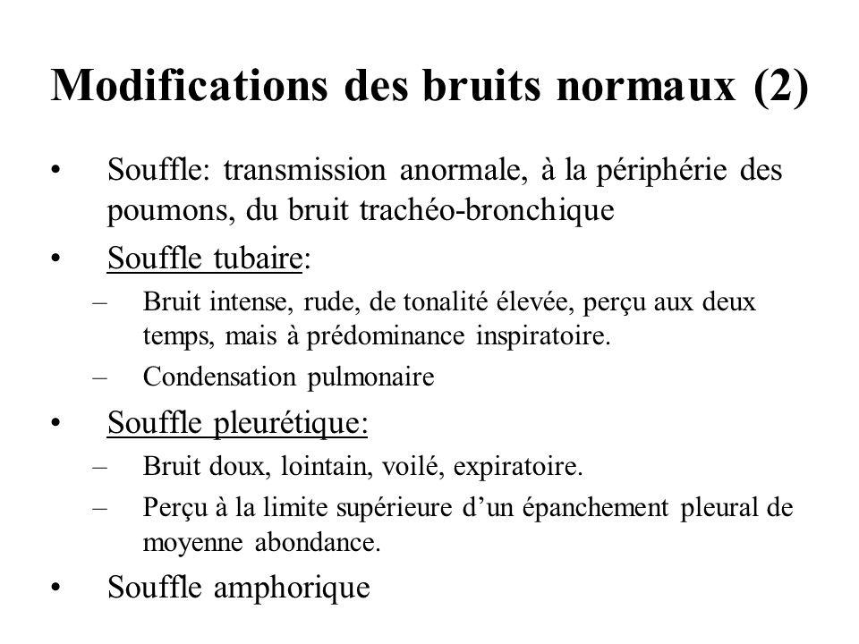 Souffle: transmission anormale, à la périphérie des poumons, du bruit trachéo-bronchique Souffle tubaire: –Bruit intense, rude, de tonalité élevée, pe