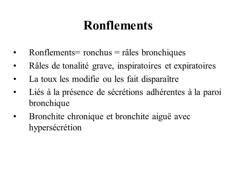 Ronflements= ronchus = râles bronchiques Râles de tonalité grave, inspiratoires et expiratoires La toux les modifie ou les fait disparaître Liés à la