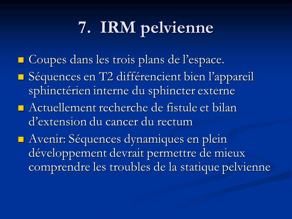 7. IRM pelvienne Coupes dans les trois plans de lespace. Coupes dans les trois plans de lespace. Séquences en T2 différencient bien lappareil sphincté