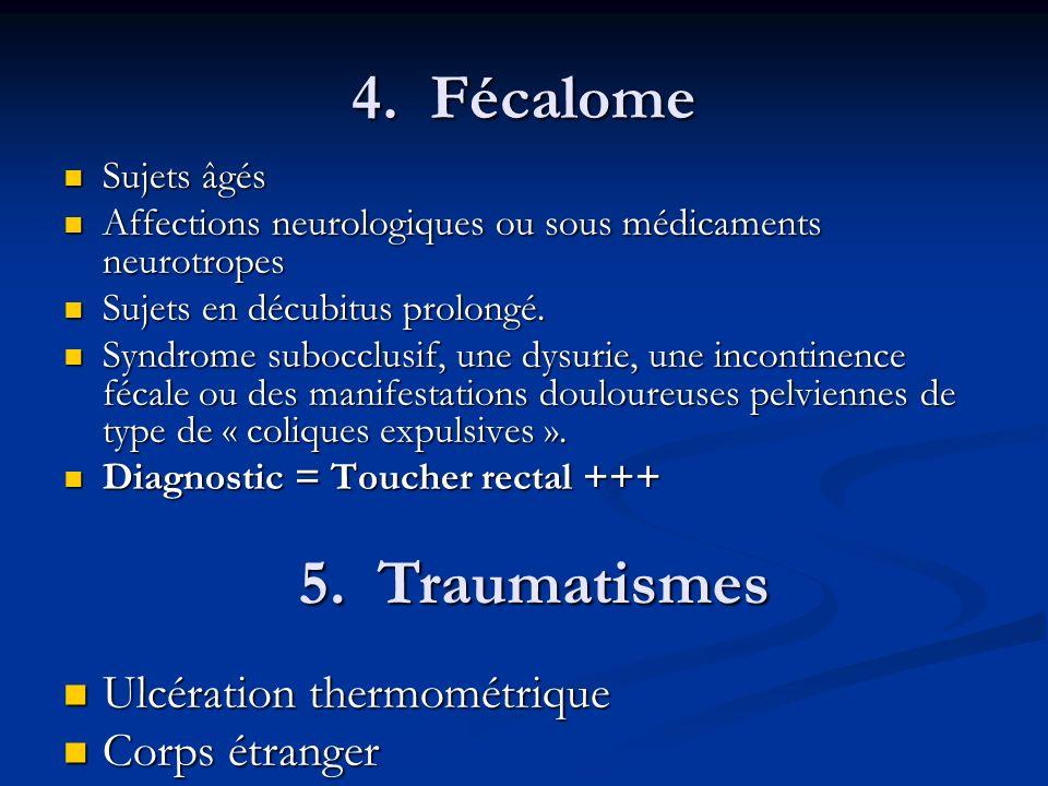 4. Fécalome Sujets âgés Sujets âgés Affections neurologiques ou sous médicaments neurotropes Affections neurologiques ou sous médicaments neurotropes