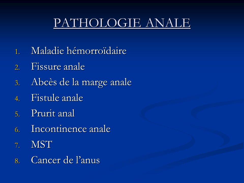 PATHOLOGIE ANALE 1. Maladie hémorroïdaire 2. Fissure anale 3. Abcès de la marge anale 4. Fistule anale 5. Prurit anal 6. Incontinence anale 7. MST 8.