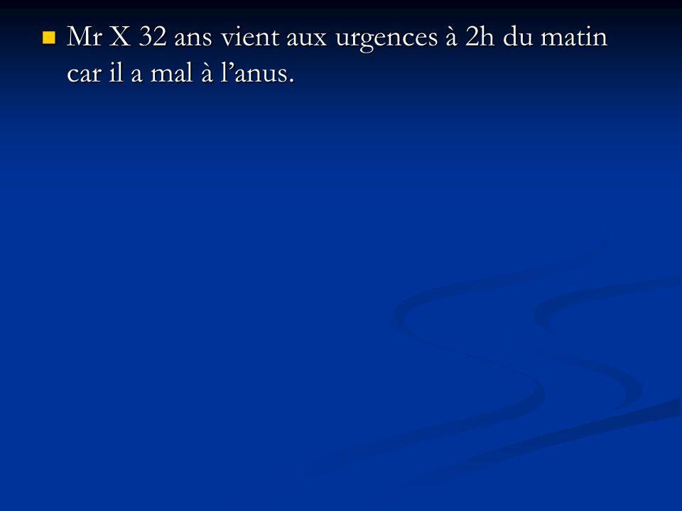 Mr X 32 ans vient aux urgences à 2h du matin car il a mal à lanus. Mr X 32 ans vient aux urgences à 2h du matin car il a mal à lanus.