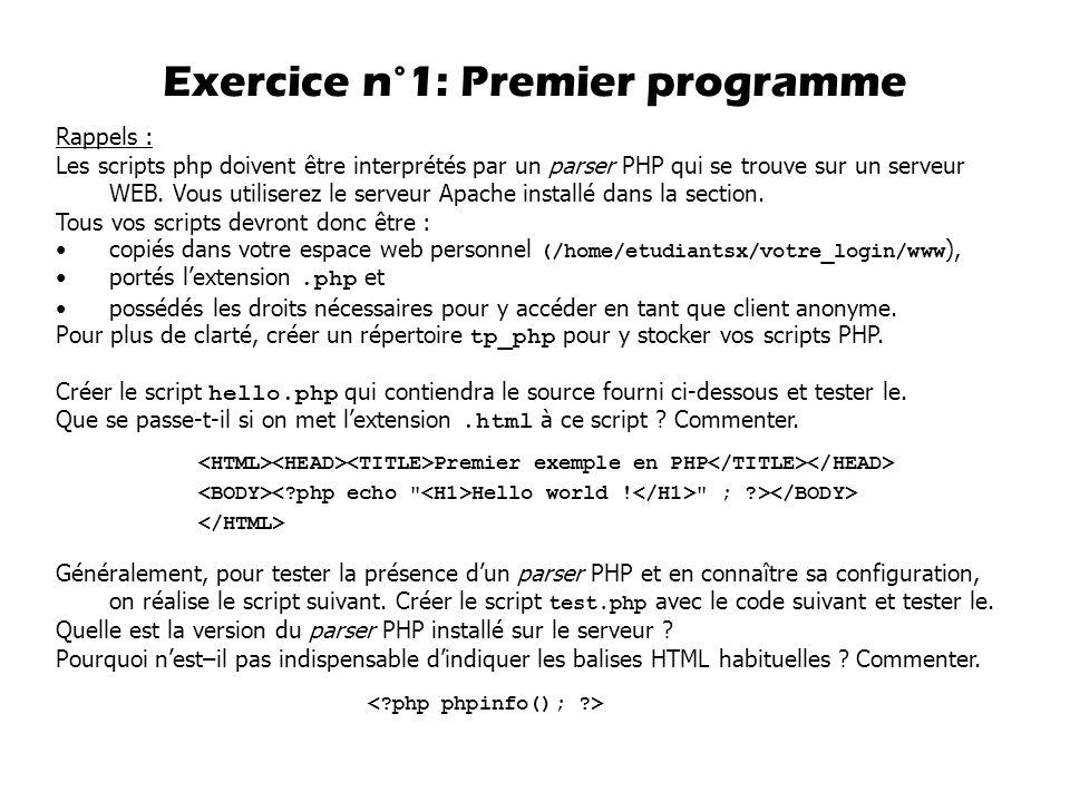 Exercice n°1: Premier programme Premier exemple en PHP Hello world !