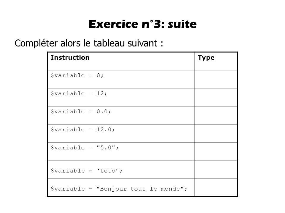 Compléter alors le tableau suivant : Exercice n°3: suite InstructionType $variable = 0; $variable = 12; $variable = 0.0; $variable = 12.0; $variable =
