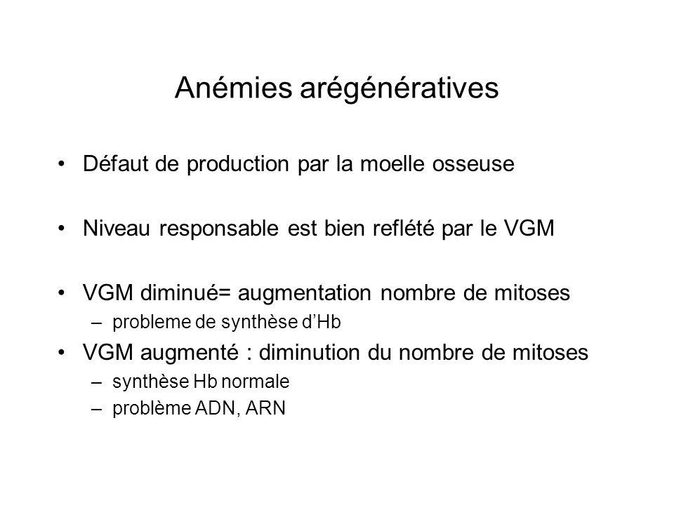Anémies arégénératives Défaut de production par la moelle osseuse Niveau responsable est bien reflété par le VGM VGM diminué= augmentation nombre de m