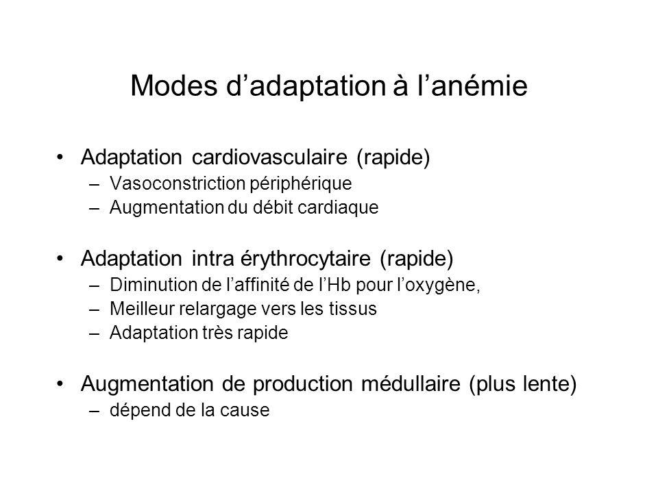 Modes dadaptation à lanémie Adaptation cardiovasculaire (rapide) –Vasoconstriction périphérique –Augmentation du débit cardiaque Adaptation intra éryt