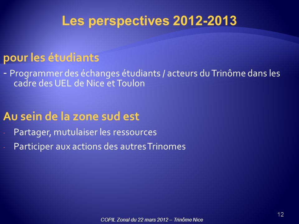 12 pour les étudiants - Programmer des échanges étudiants / acteurs du Trinôme dans les cadre des UEL de Nice et Toulon Au sein de la zone sud est - Partager, mutulaiser les ressources - Participer aux actions des autres Trinomes Les perspectives 2012-2013 COPIL Zonal du 22 mars 2012 – Trinôme Nice