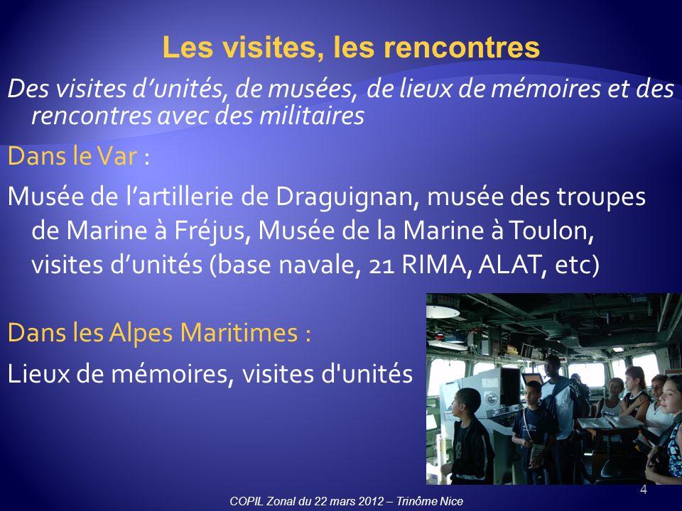 4 Des visites dunités, de musées, de lieux de mémoires et des rencontres avec des militaires Dans le Var : Musée de lartillerie de Draguignan, musée d