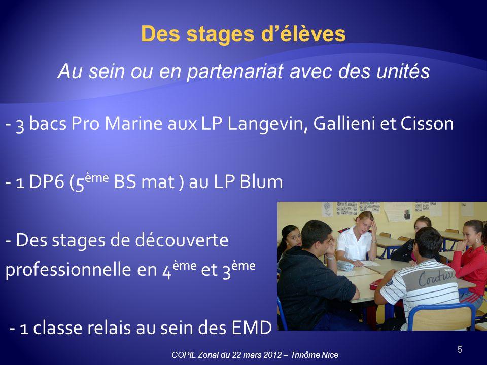 5 - 3 bacs Pro Marine aux LP Langevin, Gallieni et Cisson - 1 DP6 (5 ème BS mat ) au LP Blum - Des stages de découverte professionnelle en 4 ème et 3 ème - 1 classe relais au sein des EMD Des stages délèves Au sein ou en partenariat avec des unités COPIL Zonal du 22 mars 2012 – Trinôme Nice