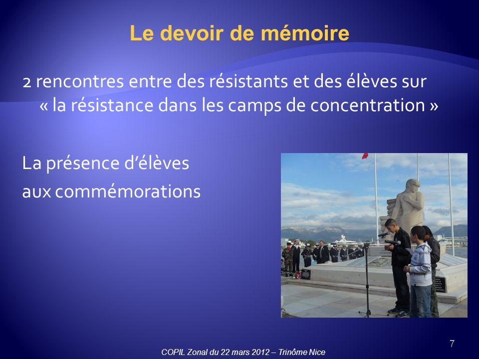 7 Le devoir de mémoire 2 rencontres entre des résistants et des élèves sur « la résistance dans les camps de concentration » La présence délèves aux commémorations COPIL Zonal du 22 mars 2012 – Trinôme Nice