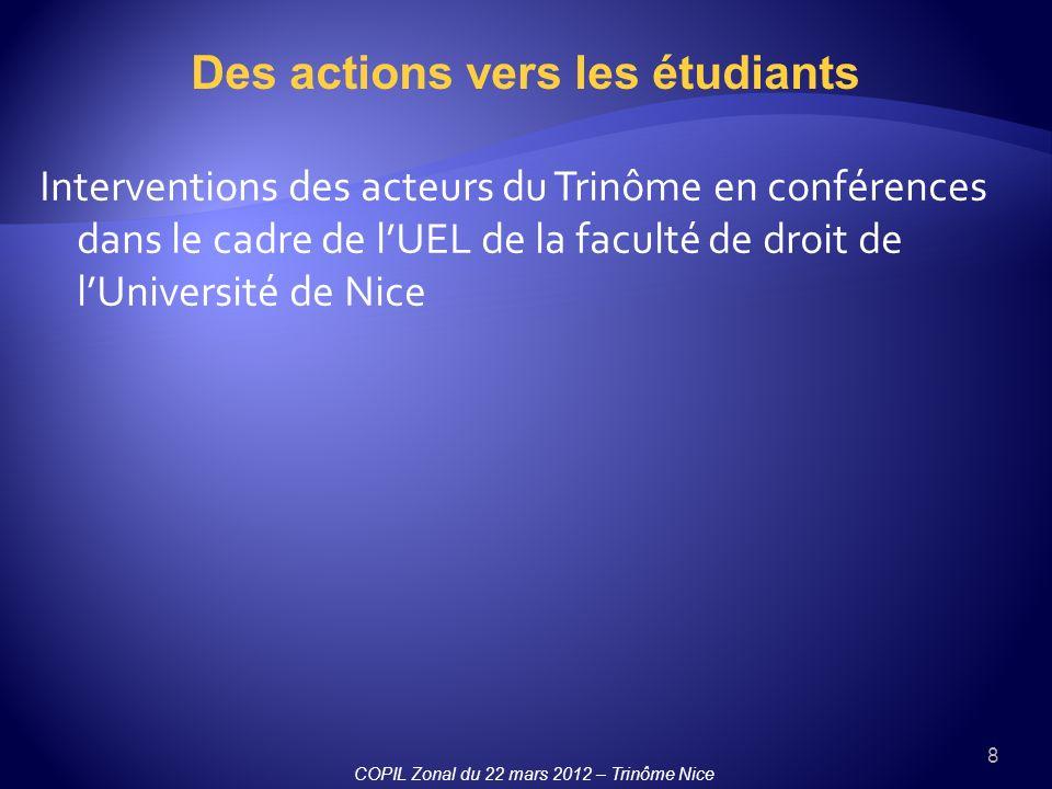 8 Des actions vers les étudiants Interventions des acteurs du Trinôme en conférences dans le cadre de lUEL de la faculté de droit de lUniversité de Nice COPIL Zonal du 22 mars 2012 – Trinôme Nice