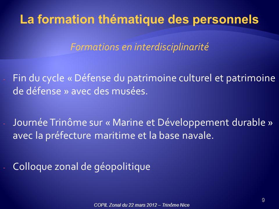 9 Formations en interdisciplinarité - Fin du cycle « Défense du patrimoine culturel et patrimoine de défense » avec des musées. - Journée Trinôme sur