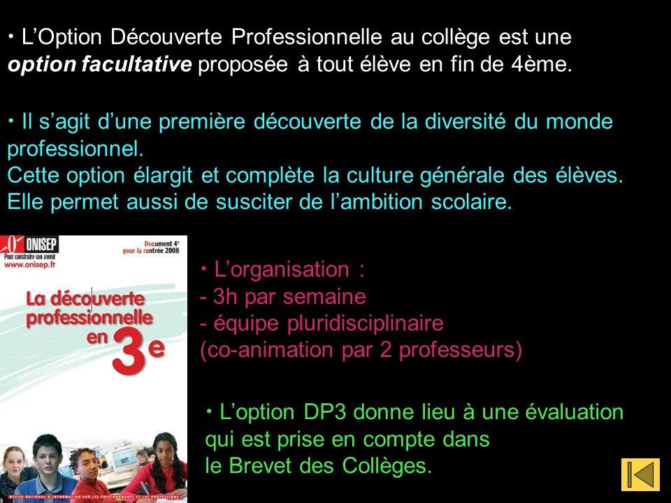LOption Découverte Professionnelle au collège est une option facultative proposée à tout élève en fin de 4ème. Il sagit dune première découverte de la