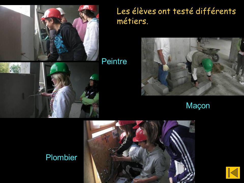 Plombier Maçon Peintre Les élèves ont testé différents métiers.