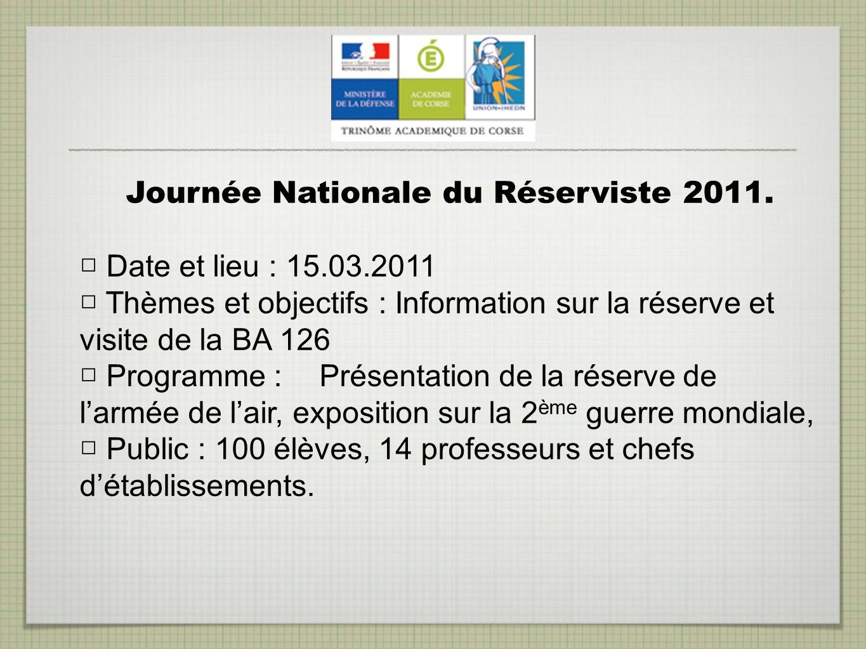 Journée Nationale du Réserviste 2011. Date et lieu : 15.03.2011 Thèmes et objectifs : Information sur la réserve et visite de la BA 126 Programme : Pr