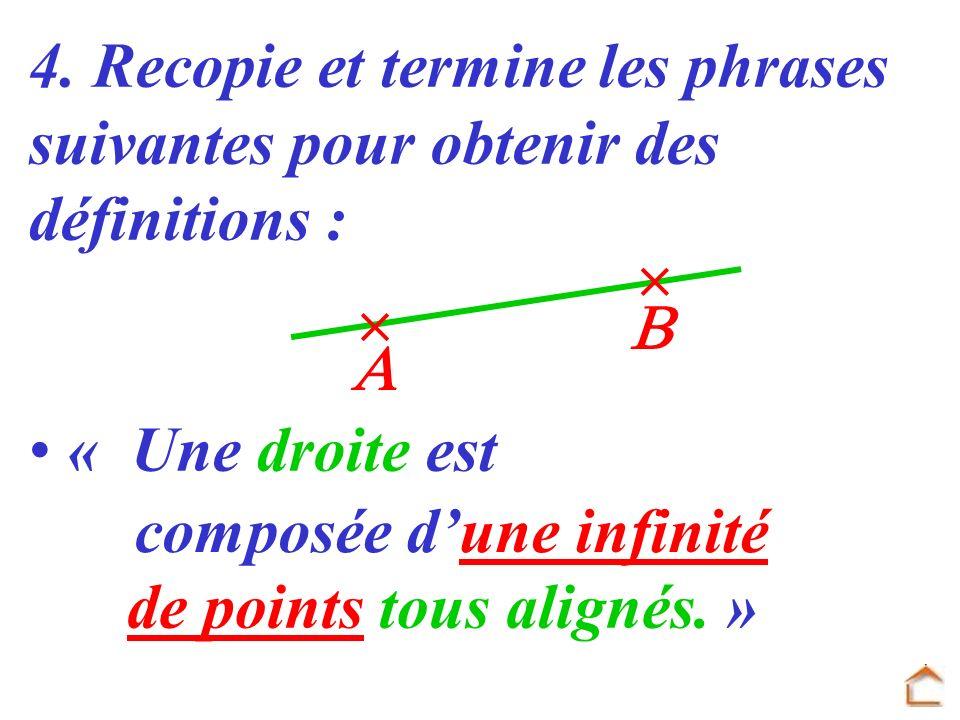 4. Recopie et termine les phrases suivantes pour obtenir des définitions : « Une droite est composée dune infinité de points tous alignés. »