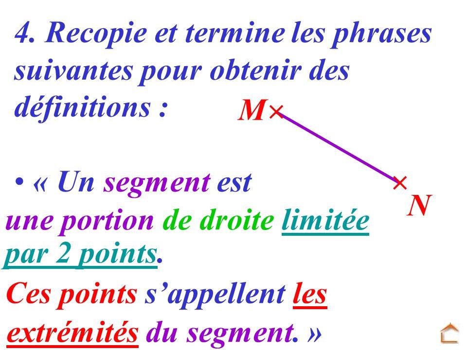 4. Recopie et termine les phrases suivantes pour obtenir des définitions : « Un segment est N M une portion de droite limitée par 2 points. Ces points