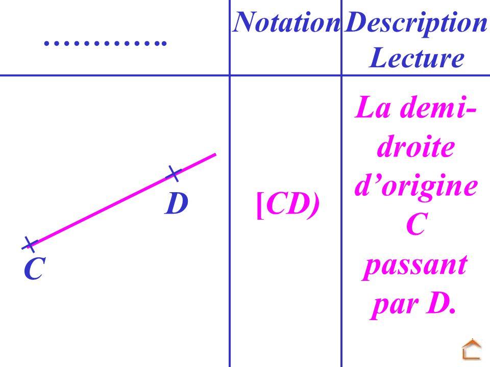 [CD) NotationDescription Lecture …………. D C La demi- droite dorigine C passant par D.