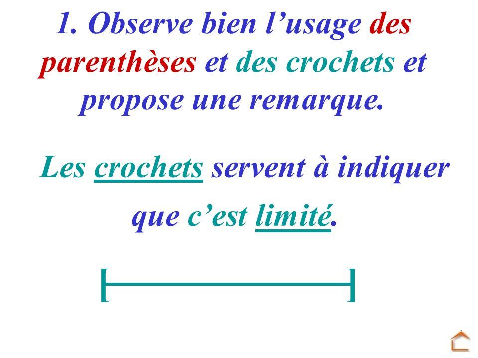 1. Observe bien lusage des parenthèses et des crochets et propose une remarque. Les crochets servent à indiquer que cest limité. []