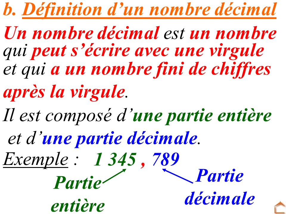 b. Définition dun nombre décimal Un nombre décimal est un nombre Il est composé dune partie entière et dune partie décimale. et qui a un nombre fini d