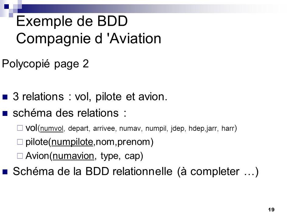 19 Exemple de BDD Compagnie d 'Aviation Polycopié page 2 3 relations : vol, pilote et avion. schéma des relations : vol ( numvol, depart, arrivee, num