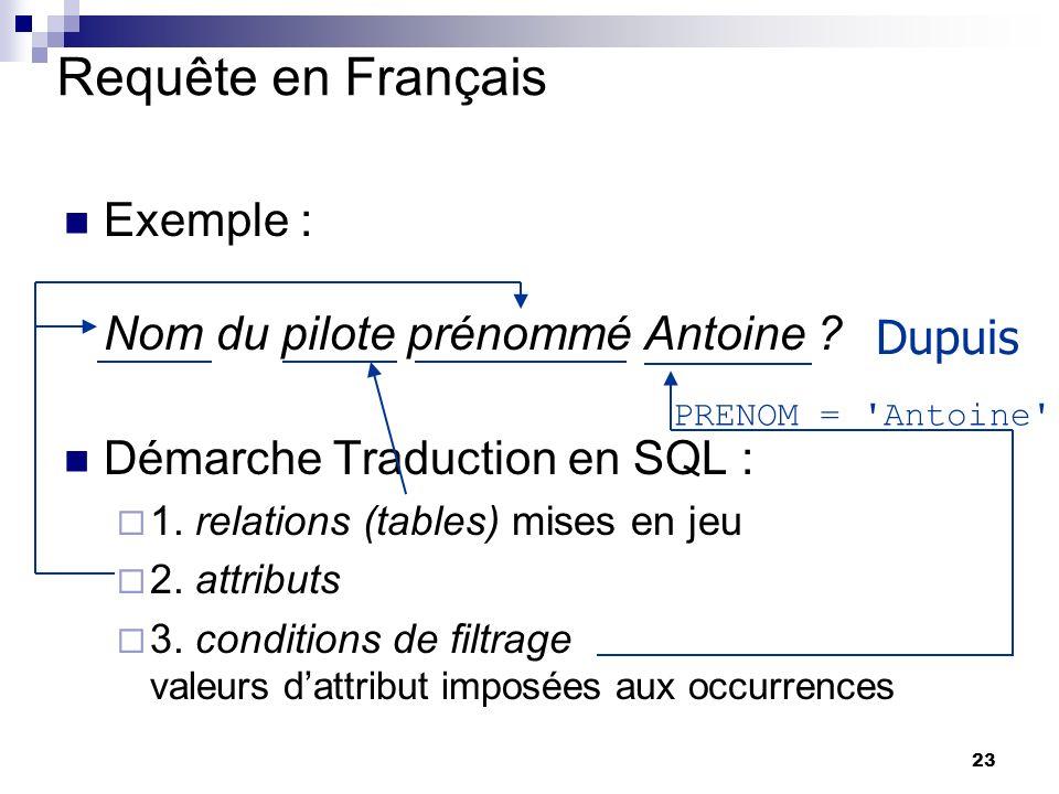 23 Requête en Français Exemple : Nom du pilote prénommé Antoine ? Démarche Traduction en SQL : 1. relations (tables) mises en jeu 2. attributs 3. cond
