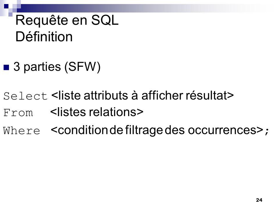 24 Requête en SQL Définition 3 parties (SFW) Select From Where ; yves Quelle est la traduction de la requête en SQL ? Tiennent sur 3 lignes S F W yves