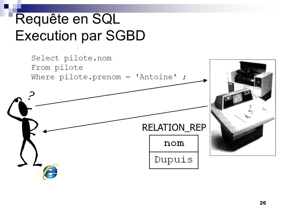 26 Requête en SQL Execution par SGBD Select pilote.nom From pilote Where pilote.prenom = 'Antoine' ; RELATION_REP yves Ici reduit a une seule reponse.