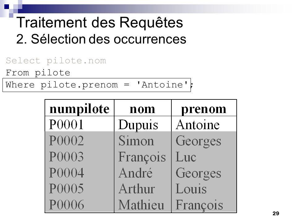 29 Traitement des Requêtes 2. Sélection des occurrences Select pilote.nom From pilote Where pilote.prenom = 'Antoine';
