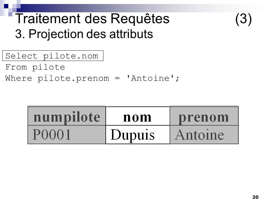 30 Traitement des Requêtes (3) 3. Projection des attributs Select pilote.nom From pilote Where pilote.prenom = 'Antoine';
