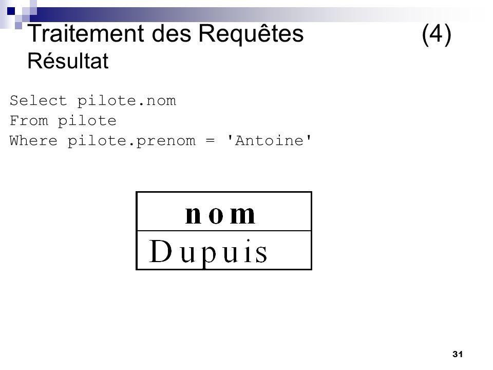 31 Traitement des Requêtes (4) Résultat Select pilote.nom From pilote Where pilote.prenom = Antoine