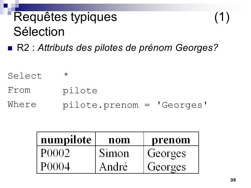 35 Requêtes typiques (1) Sélection R2 : Attributs des pilotes de prénom Georges? Select From Where pilote * pilote.prenom = 'Georges'