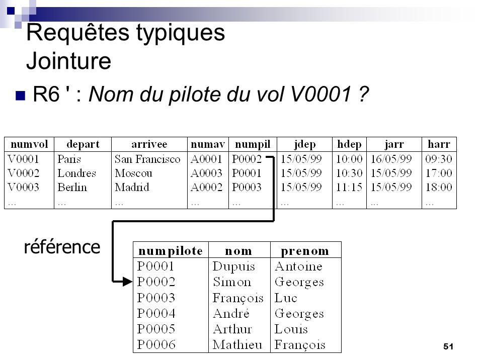 51 Requêtes typiques Jointure R6 : Nom du pilote du vol V0001 ? référence