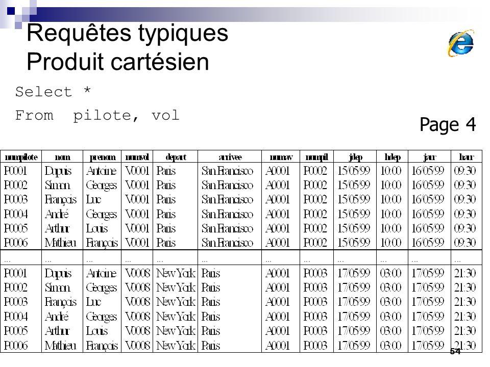 54 Requêtes typiques Produit cartésien Select * From pilote, vol Page 4