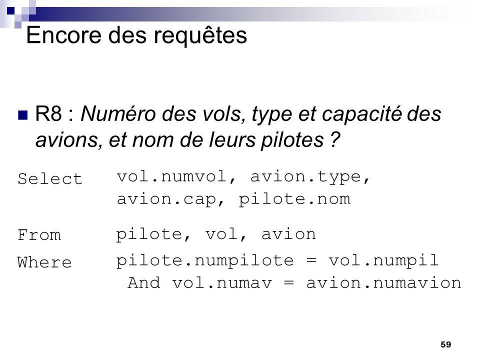 59 Encore des requêtes R8 : Numéro des vols, type et capacité des avions, et nom de leurs pilotes ? Select From Where pilote, vol, avion vol.numvol, a