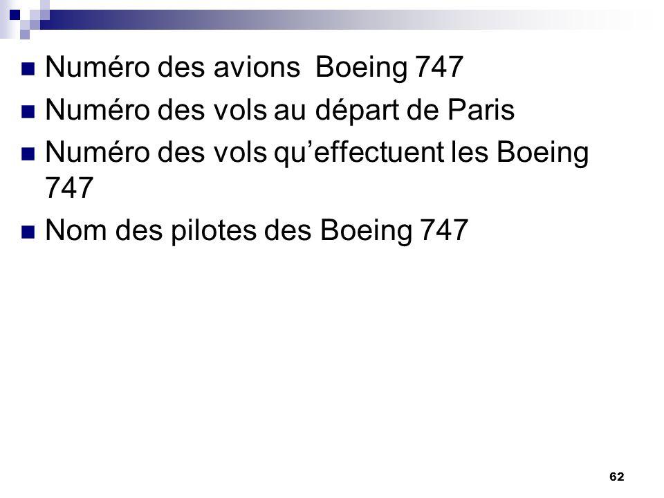 62 Numéro des avions Boeing 747 Numéro des vols au départ de Paris Numéro des vols queffectuent les Boeing 747 Nom des pilotes des Boeing 747