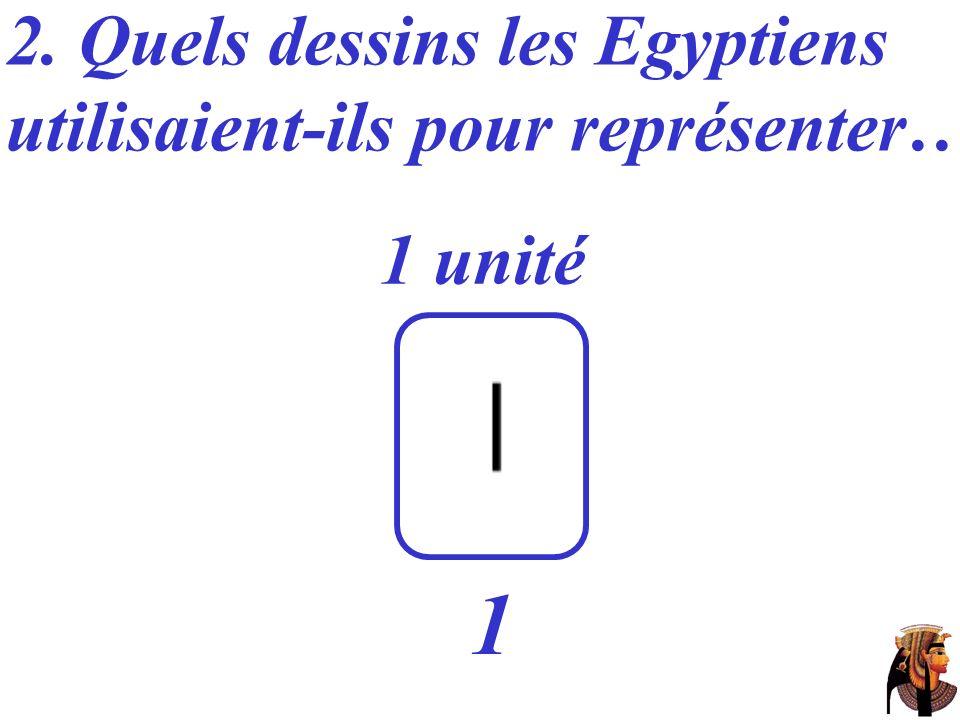 2. Quels dessins les Egyptiens utilisaient-ils pour représenter… 1 unité 1