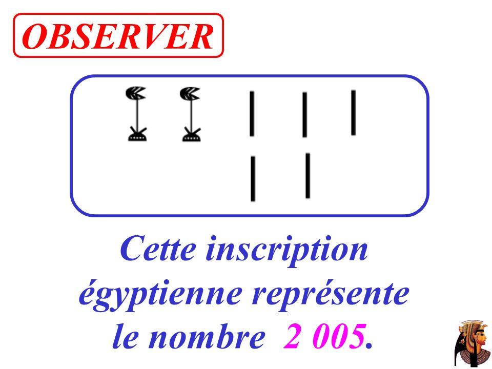 Cette inscription égyptienne représente le nombre 2 005. OBSERVER