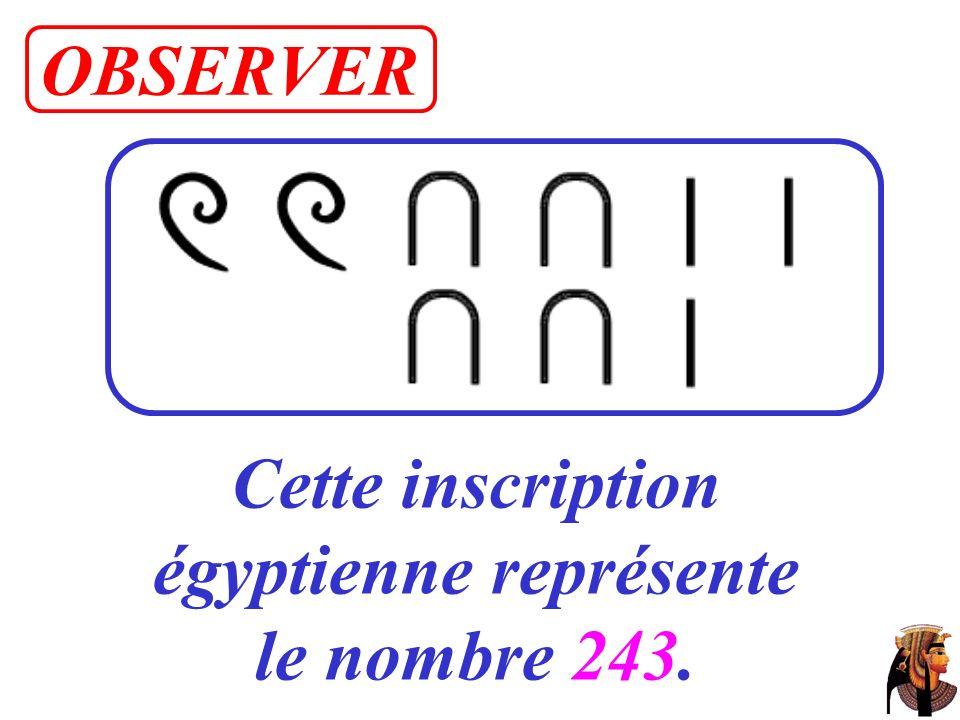 Cette inscription égyptienne représente le nombre 243. OBSERVER