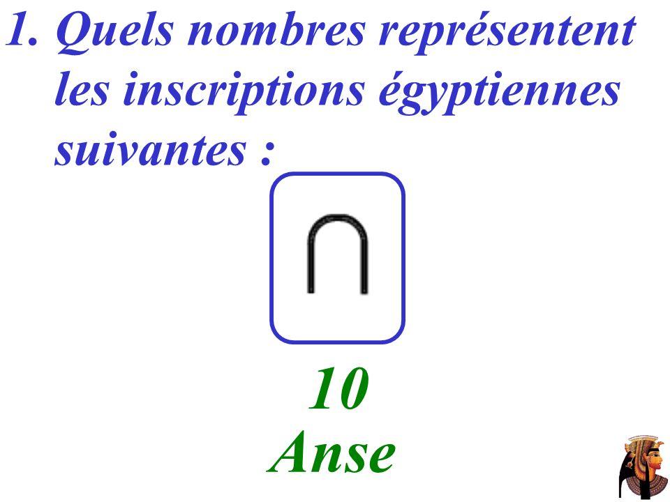 1. Quels nombres représentent les inscriptions égyptiennes suivantes : …… 100 Corde enroulée