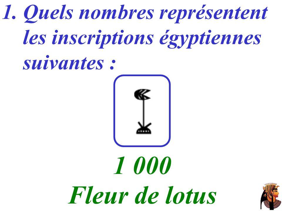 1. Quels nombres représentent les inscriptions égyptiennes suivantes : …… 1 000 Fleur de lotus