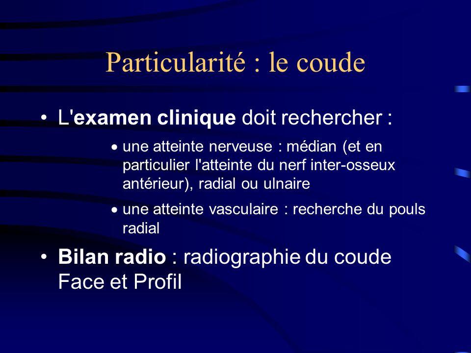Particularité : le coude L'examen clinique doit rechercher : une atteinte nerveuse : médian (et en particulier l'atteinte du nerf inter-osseux antérie