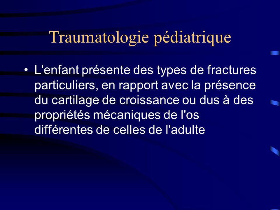 Traumatologie pédiatrique L'enfant présente des types de fractures particuliers, en rapport avec la présence du cartilage de croissance ou dus à des p