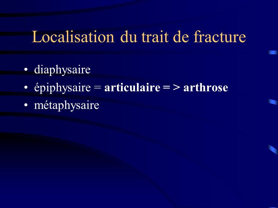 Localisation du trait de fracture diaphysaire épiphysaire = articulaire = > arthrose métaphysaire