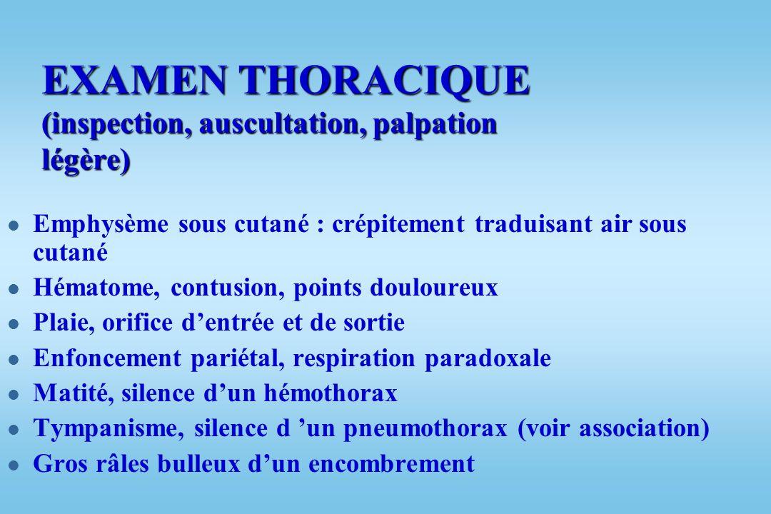 ETAT RESPIRATOIRE l Cyanose l Respiration courte l Battement des ailes du nez l Mise en jeu des muscles accessoires de la respiration (scalène) l Agit