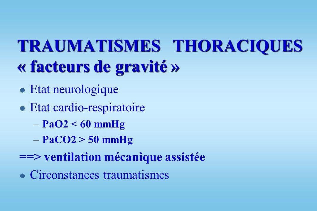 TRAUMATISME THORACIQUE « Bilan diagnostic » l Bilan biologique : Groupe Rh, Hémostase, Ionogramme sanguin, Gaz du sang PaO2, PaCO2 l Bilan radiologiqu