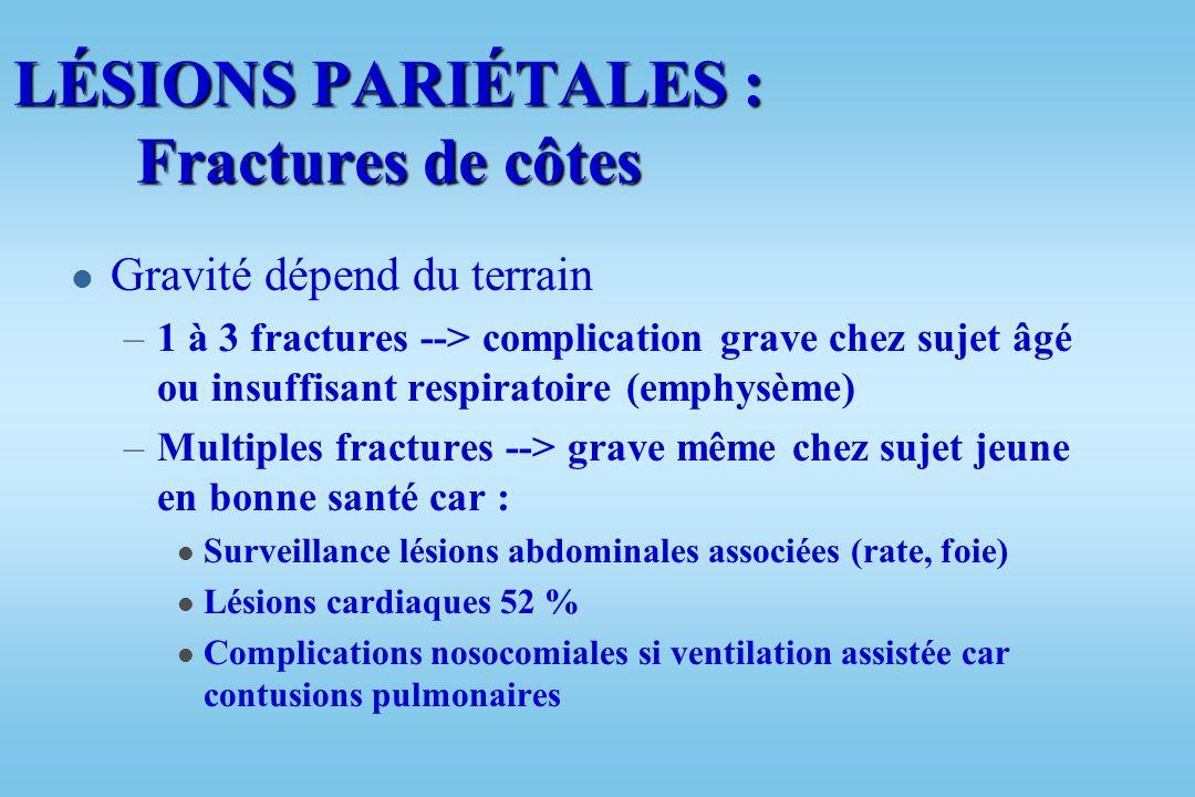 TRAUMATISMES THORACIQUES « Bilan lésionnel » l Thoracique : –Lésions pariétales –Lésions pleurales : l Hémothorax l Pneumothorax l Hémopneumothorax –L